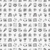 Patrón de los medios de comunicación doodle — Vector de stock