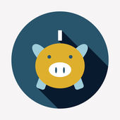 Piggy bank flat icon — Stockvector