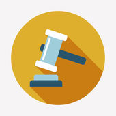 Auction hammer flat icon — Stock Vector