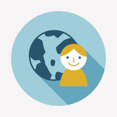 Globe flat icon — Stock Vector