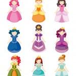 Cartoon beautiful princess icons set — Stock Vector #8290148