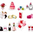 Cartoon wedding icon set — Stock Vector #8317079