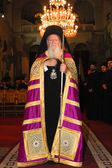 Patriarch Bartholomew in the church of Agios Dimitrios — Stock Photo