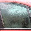 Ice on the car window — Stock Photo