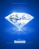 Diamond on blue background — Stock Photo