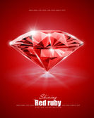 Diamond on red background — Stock Vector