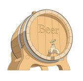 Wooden tun with beer — Stock Vector
