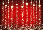 Christmas curtain with stars on red background — Stock Photo
