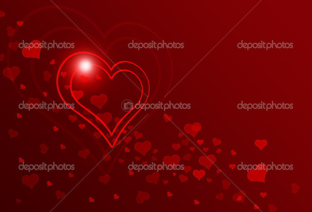 Valentine postcard with hearts on red background  Stock Photo #14720489