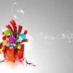 Vector illustration de Noël avec boîte-cadeau magique — Vecteur