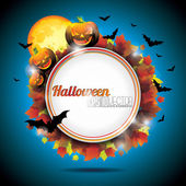 Vector Halloween Party Background with Pumpkins and Moon. EPS 10 — Stock Vector