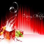 illustration de vacances vecteur sur un thème de Noël avec boîte-cadeau magique — Vecteur