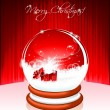 Vector Holiday illustration on a Christmas theme with snow globe against. — Stock Vector