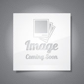Coming Soon illustration with abstract picture frame on grey background. Vector eps 10. — Stock Vector