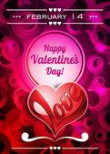 Ilustración del día de san valentín con corazón de espacio y amor de texto — Vector de stock