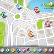 Vector map illustration with pointer set. EPS 10. — Cтоковый вектор