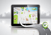 Vector map illustration with shiny pda device and a good way. EPS 10. — Stockvektor
