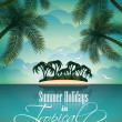 Vector Summer Holiday Flyer Design with palm trees. — Stock Vector