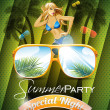 Stock Vector: Vector Summer Beach Party Flyer Design with sexy girl