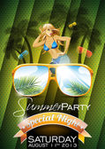 Vector Summer Beach Party Flyer Design with sexy girl — Stock Vector