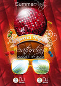 Vector Summer Beach Party Flyer Design with disco ball — Stockvektor