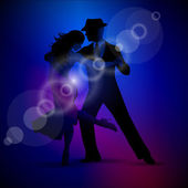 Vector design with couple dancing tango on dark background. — Vecteur