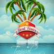 Vector Summer Holiday Flyer Design with palm trees. — Imagen vectorial