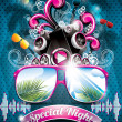 Vector Summer Beach Party Flyer Design with speakers — Imagen vectorial