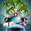 Vector Summer Beach Party Flyer Design with disco ball — ストックベクタ