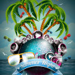 Wektor stockowy : Vector Summer Beach Party Flyer Design with disco ball