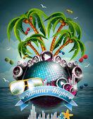 Vector Summer Beach Party Flyer Design with disco ball — Stock Vector