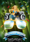 Vector Summer Beach Party Flyer Design with sexy girl — Stockvektor