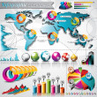 Stock Vector: Vector design set of infographic elements. World map and information graphics.