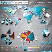 дизайн векторный набор инфографики элементов. карта и информация графика мира. — Cтоковый вектор