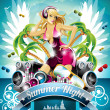 Vector Summer Beach Party Flyer Design with sexy girl and speakers on cloud background. — Vektorgrafik