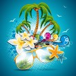 Royalty-Free Stock Vector Image: Vector Summer Holiday Flyer Design with palm trees and Paradise Island on clouds background. Eps10 illustration.