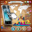 Vector design set of infographic elements. World map and information graphics on mobile phone. — Stock Vector