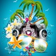 Vector Summer Beach Party Flyer Design with sunglasses and starfish on blue background — Stock Vector #26056409