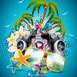 Vector Summer Beach Party Flyer Design with sunglasses and starfish on blue background — Stock Vector
