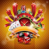 Casino tema rulet tekerleği ve kurdele ile vektör çizim. — Stok Vektör