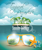 Vector Summer Holiday Flyer Design with palm trees and Paradise Island on clouds background. Eps10 illustration. — Stock Vector