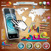 Vector design set of infographic elements. World map and information graphics on mobile phone. — Vecteur