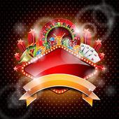 Vector ilustración sobre un tema de casino con ruleta y cinta. — Vector de stock
