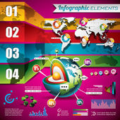 Vector design set of infographic elements. World map and information graphics. — Vecteur