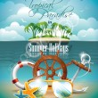 Vector Summer Holiday Flyer Design with palm trees and shipping elements on tropical background. — Stock Vector #26715309