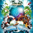 Vector Summer Beach Party Flyer Design with disco ball and shipping elements on tropical background. — Vecteur