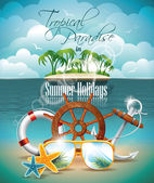 Vector Summer Holiday Flyer Design with palm trees and shipping elements on tropical background. — Stock Vector