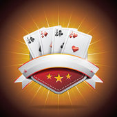 Vector illustration on a casino theme with roulette wheel and ribbon. — Stockvektor