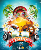 Vector illustration on a casino theme with roulette wheel and ribbon on tropical background. — Vecteur