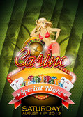 Vector illustration on a casino theme with roulette wheel and sexy girl on tropical background. — Stock Vector